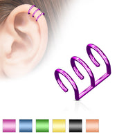 Triple Ring Fake Non Piercing Ear Helix Cuff Earring
