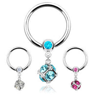 Dice Multi Gem Paved Dangle 316L Surgical Steel Captive Bead Ring