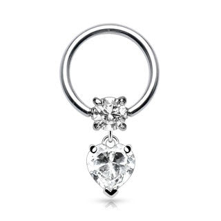 Clear CZ Heart Dangle 316L Surgical Steel Captive Bead Ring