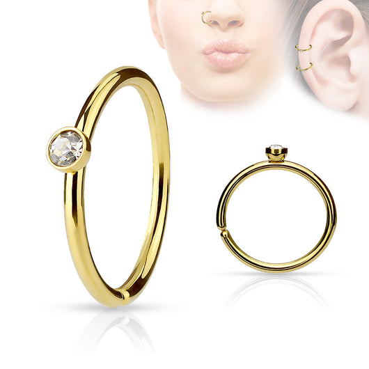 Tiny CZ IP Ear Cartilage Daith Helix Tragus Nose Rings