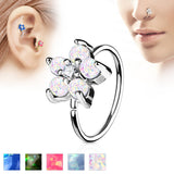 Opal Glitter Flower CZ Ear Cartilage Daith Helix Tragus Nose Rings