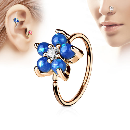 Opal Flower CZ Rose Gold IP Cartilage Daith Helix Tragus Nose Ring