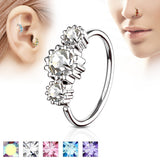 Three CZ Ear Cartilage Daith Helix Tragus Nose Rings