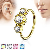 Three CZ Gold IP Ear Cartilage Daith Helix Tragus Nose Rings