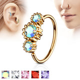 Three CZ Rose Gold IP Ear Cartilage Daith Helix Tragus Nose Rings