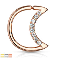 Crystal Lined Crescent Moon Shape Ear Cartilage Daith Tragus Helix Hoop Rings