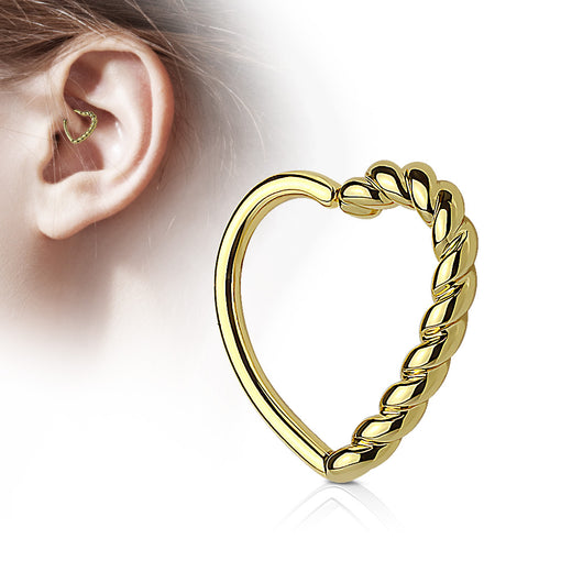 Half Braided Heart Ear Cartilage Daith Helix Tragus Rings