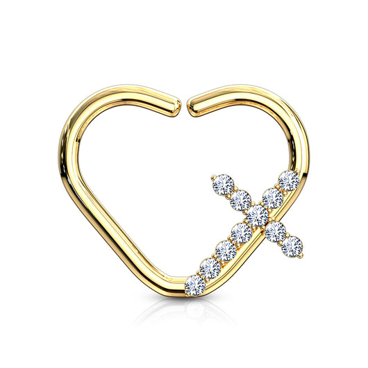CZ Cross Heart Ear Cartilage Daith Tragus Helix Earrings Hoop Nose Rings