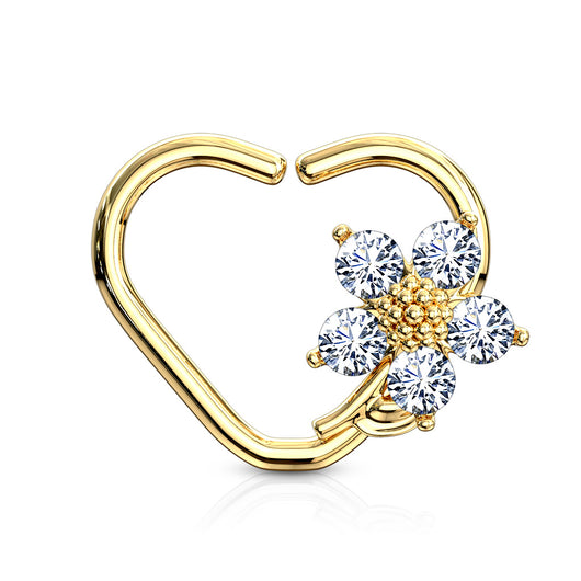 CZ Flower Heart Ear Cartilage Daith Tragus Helix Earrings Hoop Nose Rings