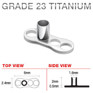 Titanium 3 Hole Dermal Anchor with 2 mm Post Single Piece