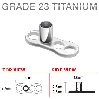 Titanium 3 Hole Dermal Anchor with 2.5 mm Post Single Piece