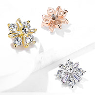 Princess Cut CZ Crossed Internal Threaded Dermal Anchor Top