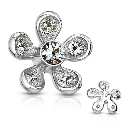 Micro Paved CZ Flower Internal Threaded Dermal Anchor Top