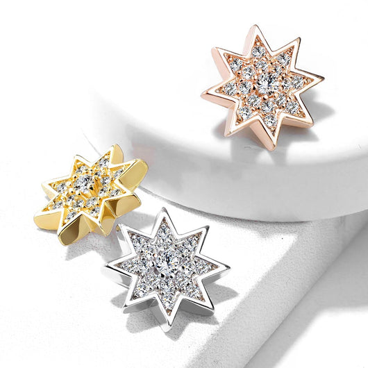 Micro CZ Paved Starburst Prong set CZ Internal Threaded Dermal Anchor Top
