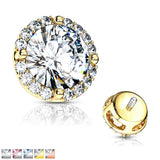 Prong Set CZ Center with CZ Around Internal Threaded Dermal Anchor Tops