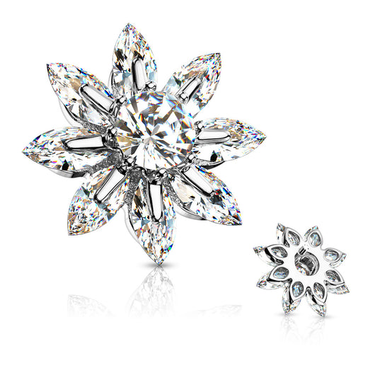 Marquise CZ Petal Round CZ Center Internal Threaded Dermal Anchor Tops
