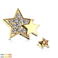 CZ Paved Double Star Internal Threaded Dermal Anchor Tops
