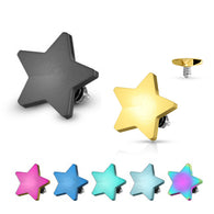 Flat 4mm Star Titanium IP on 316L Surgical Steel Dermal Anchor Top