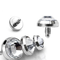 Flat CZ Grade 23 Solid Titanium Internally Threaded Dermal Anchor Top