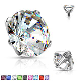 Mixed Sz Round Prong Set Assorted CZ Dermal Anchor Top
