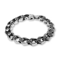 Skull Linked Biker Stainless Steel Bracelet