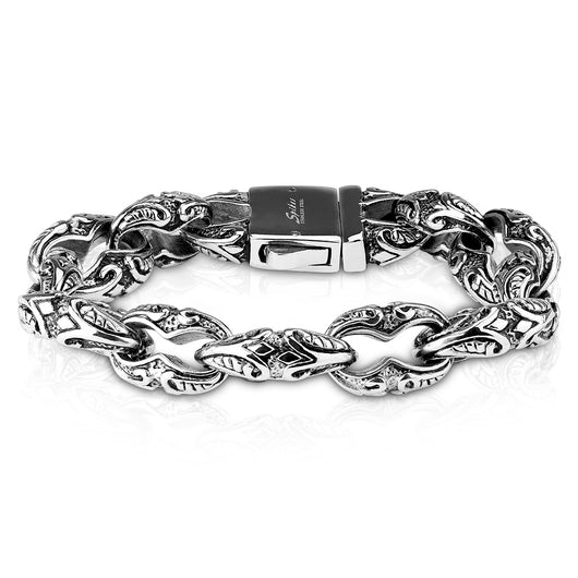 Tribal Pattern Linked Large Biker Stainless Steel Bracelet