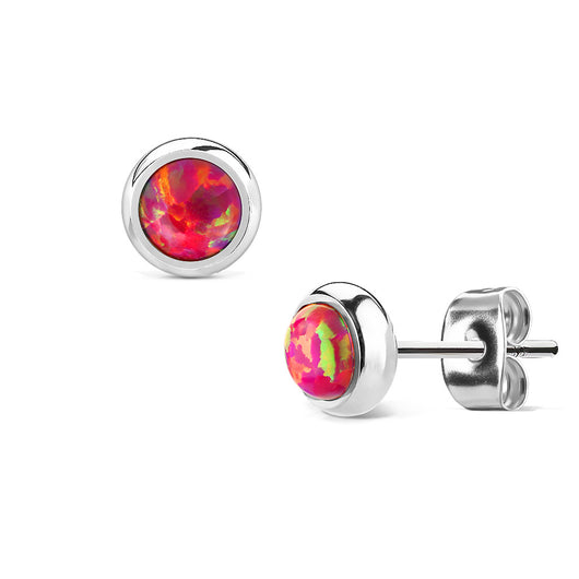 Pair Of 6mm Red Opal Stone Bezel Set Surgical Steel Studs Earrings 20G