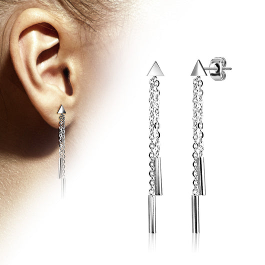 Pair of Triangle 2 Chain Drop Round Bar Earring Studs