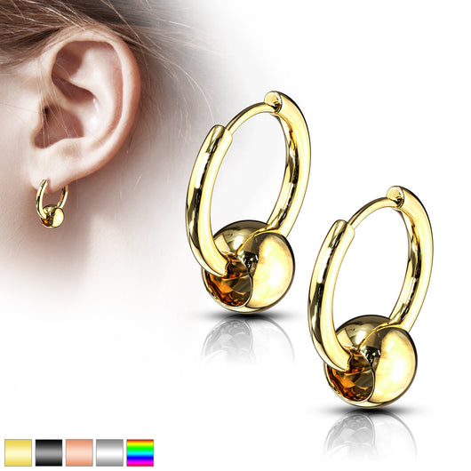 Pair of Captive Ball Hinge Action Seamless Hoop Earring Studs