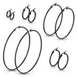14 Size Pair Of Black Titanium Round Hoop Earrings