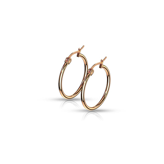 14 Size Pair Of Rose Gold IP 316L Surgical Steel Round Hoop Earrings