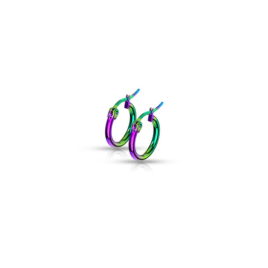 Pair Of Rainbow Titanium Surgical Steel Round Hoop Earrings