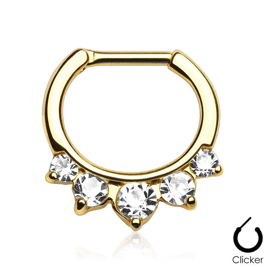 Five CZ Gold IP Surgical Steel Septum Clicker Nose Ring