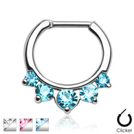 Five CZ Surgical Steel Septum Clicker Nose Ring