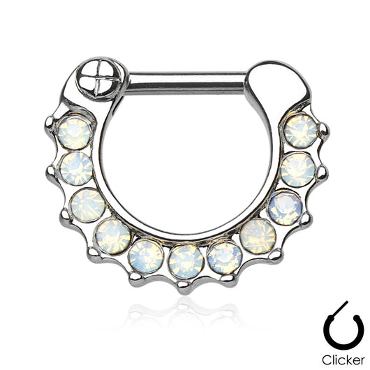 Opalites Surgical Steel Septum Clicker Nose Ring