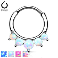 Five Opal Surgical Steel Septum Clicker Hanger Nose Ring