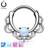 Tribal Lacey Opal Surgical Steel Septum Clicker Nose Ring