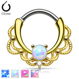 Tribal Lacey Opal 14K Gold Plated Septum Clicker Nose Ring