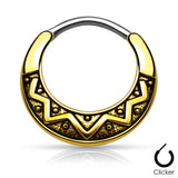 Tribal Fan Surgical Steel Septum Clicker Nose Ring