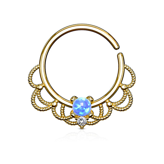 Opal Filigree Nose Septum Ear Cartilage Daith Helix Tragus Rings