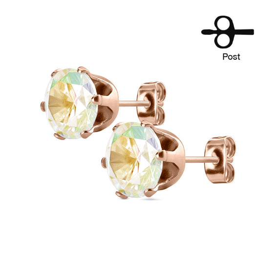 Pair of Rose Gold IP Stainless Steel Stud Earring with Round CZ