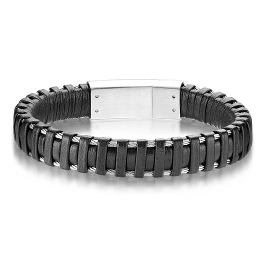 Cool Black Micro Fiber Leather And Stainless Steel Bracelets