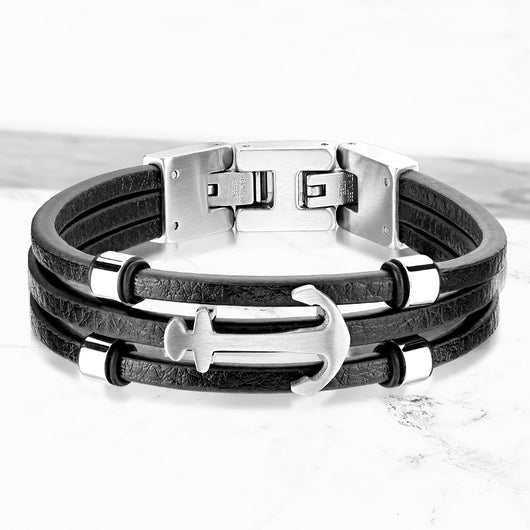 Multi Strand Black Micro Fiber Leather Anchor Stainless Steel Chain Bracelets
