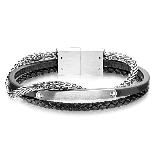 Multi Strand Black Micro Fiber Leather and Stainless Steel Chain Bracelets