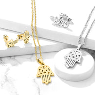 Hamsa Necklace & Earrings Set Stainless Steel Chain Necklaces