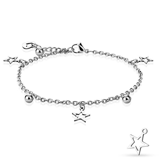 Star, Ball, and Heart Dangling Charm 316L Stainless Steel Chain Anklet / Bracelet