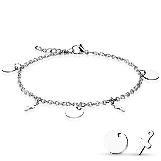 Round And Cross Charm Dangling  316L Stainless Steel Chain Anklet / Bracelet