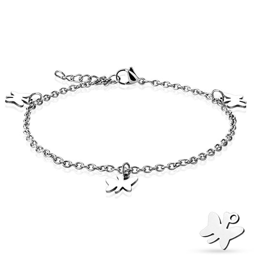Dangling Butterfly Charm 316L Stainless Steel Chain Anklet / Bracelet