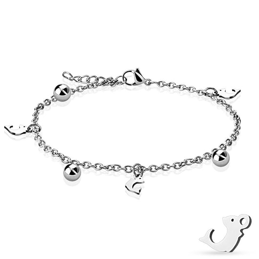 Dolphin and Ball Dangling Charm 316L Stainless Steel Chain Anklet / Bracelet