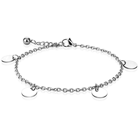 Round Charm Dangle 316L Stainless Steel Chain Anklet / Bracelet